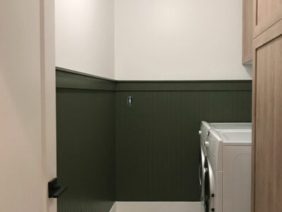 Adding Green Bead Board to the Laundry Room
